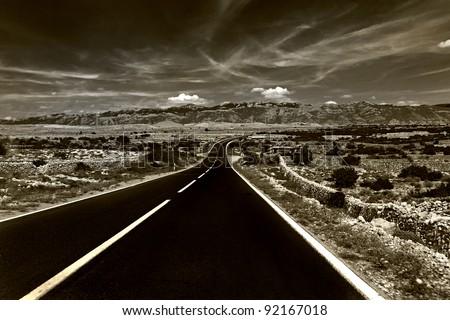 Long road in the rock, Croatian - stock photo