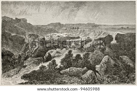 Long-Rocher old view, Fontainebleau forest, France. Created by Grenet, published on Le Tour du Monde, Paris, 1867 - stock photo