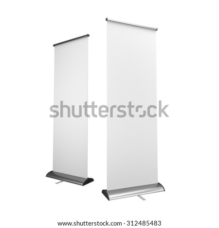 long rollups or banners on white background