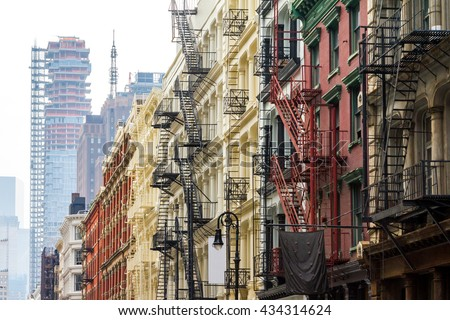 Long row of colorful buildings in the Soho neighborhood of Manhattan, New York City - stock photo