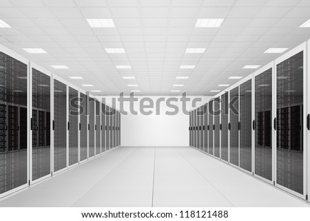 long row of server racks in a datacenter - stock photo