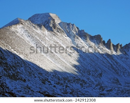 long's peak on a late winter afternoon  in rocky mountain national park, colorado - stock photo