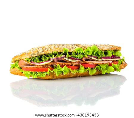 long Sandwich with Vegetables,  meat and cheese isolated on white background