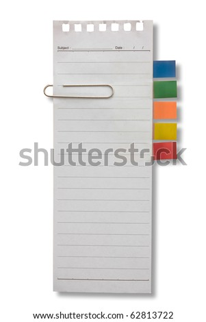 Long shape blank page white paper  with tag and clip for note something and attach at a door - stock photo