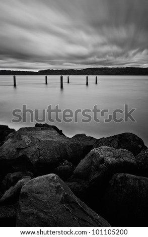 Long shutter speed with windy clouds in background. - stock photo