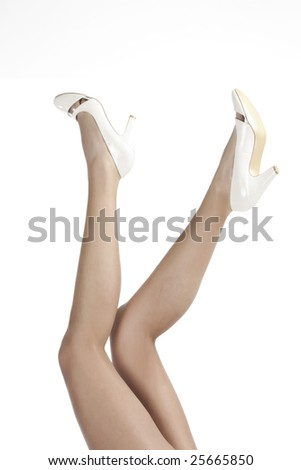 Long slim legs of woman - stock photo