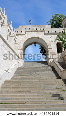long staircase leading up to the Fisherman's Bastion on Buda Hill in Budapest, Hungary - stock photo