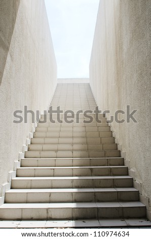 Long stairs with many steps - stock photo
