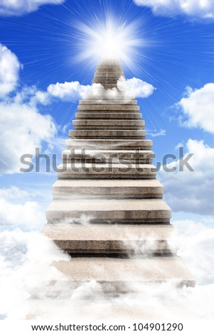 Long stairway to heaven with light at the end - stock photo