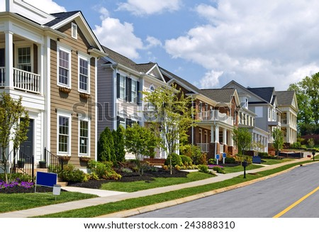 Long Street Of New Luxury Homes - stock photo