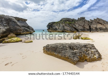Long stretches of pale pink sand beaches at Horseshoe Bay, Bermuda. - stock photo