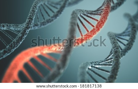 Long structure of the DNA double helix in depth of view. - stock photo