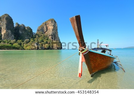 Long tail boat on the  beach / Railay Beach,Krabi Thailand - stock photo
