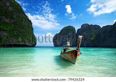 Long tail boat on the beautiful sea, Maya bay, Phuket - stock photo