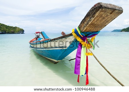long tail boat sit on the beach, Samui island, Thailand