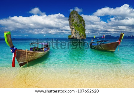 Long tail boats, Tropical beach, Andaman Sea, Thailand - stock photo
