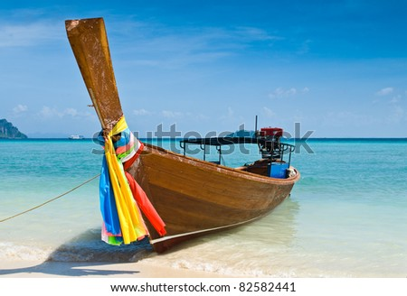 Long tailed boat at Phiphi island, Thailand