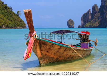 Long tailed boat in Phi Phi island Thailand