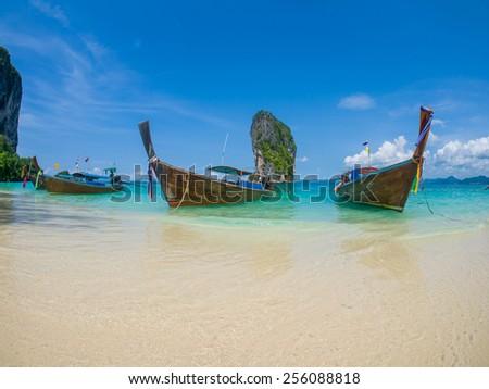 Long tailed boat Ruea Hang Yao in Krabi Thailand - stock photo