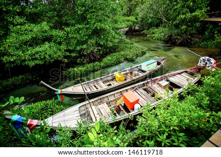 Long-tailed boat wide angle - stock photo