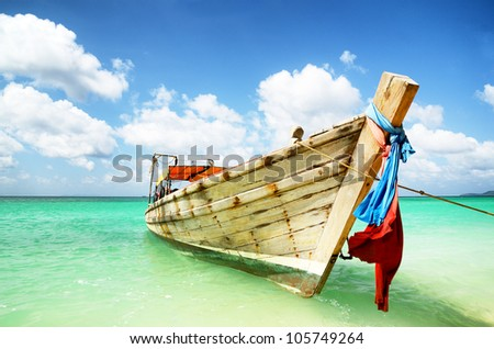 "Long-tailed Transportation boat  "" PHI PHI BEACH "" Location Krabi Thailand. - stock photo"