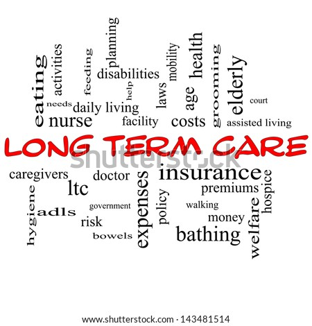 Long Term Care Word Cloud Concept in red caps with great terms such as insurance, policy, costs, elderly, age and more.