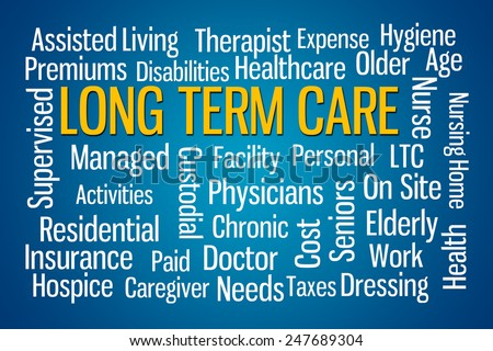 Long Term Care word cloud on Blue Background - stock photo