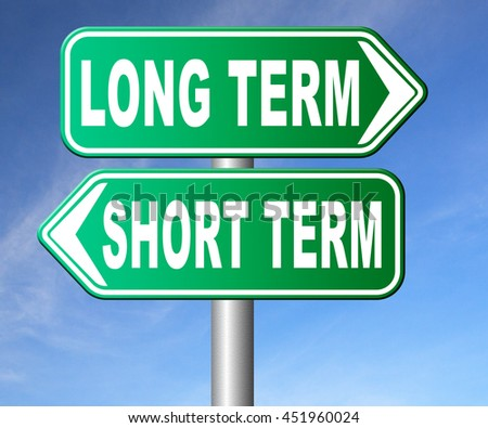 long term short term strategy planning or thinking plan and think ahead for the near and far future 3D illustration, isolated, on white   - stock photo