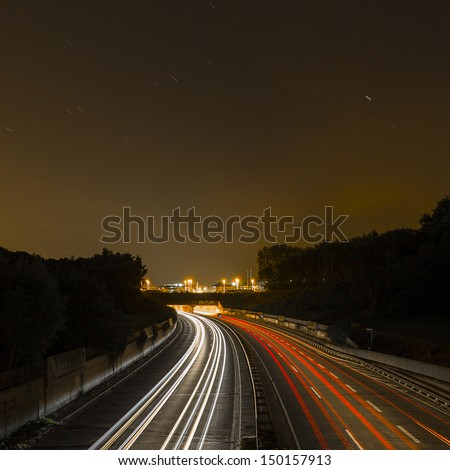 long time exposure on a highway with car light trails