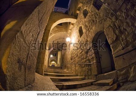 Long-up in the narrow streets of the Old City of Jerusalem. - stock photo