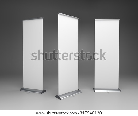 long vertical rollups or banners on dark background