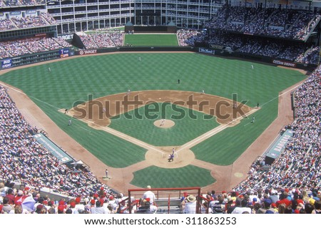 Long view of diamond and full bleachers during a professional Baseball game, The Ballpark, Arlington, Texas