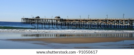 Long view of the beach and pier, San Clemente, CA - stock photo