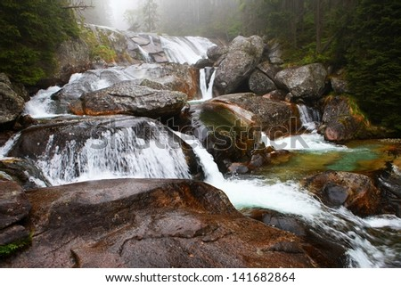Long waterfall, High Tatras, Slovakia - stock photo