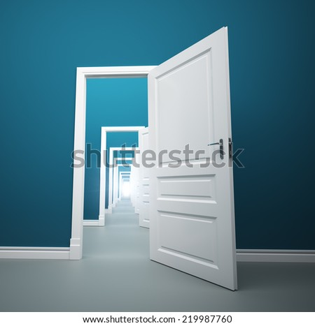 Long way of opened doors with light at the end - stock photo