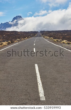Long way road on El Teide vulcan National Park in Tenerife.