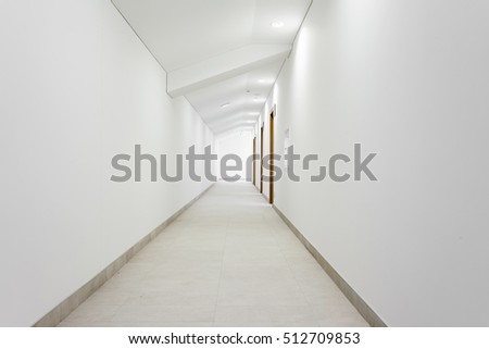 Long white clean hallway