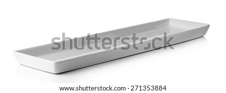 Long white plate isolated on a white background. - stock photo