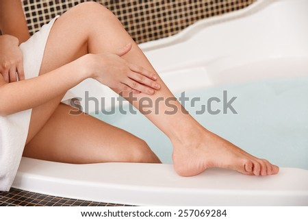 Long Woman Legs. Beautiful Woman Cares About Legs. Depilation