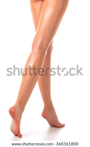 Long woman legs, isolated on white background