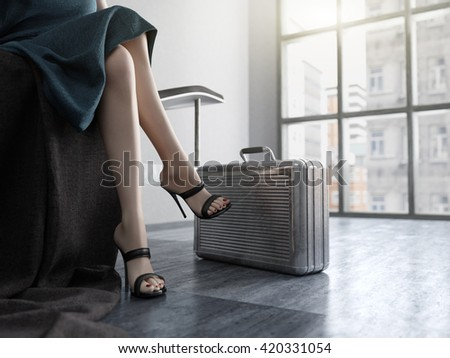 Long Woman Legs with metal case concept background - stock photo