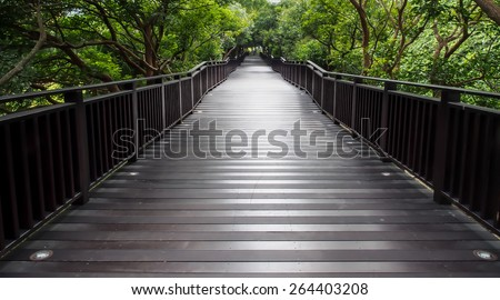 Long wood bridge along nature walk - stock photo