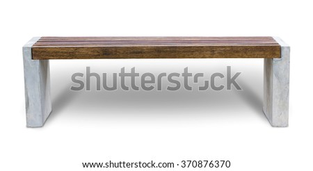 Long wooden chair isolated on white - stock photo