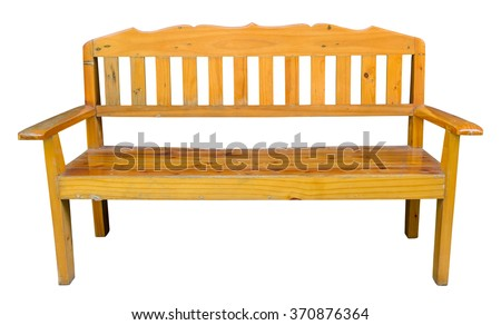 Long wooden chair isolated on white with clipping path - stock photo