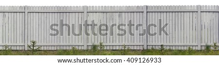 Long wooden rural fence from vertical gray pine boards. Young fir trees are planted on a lawn before a fence. Isolated on top