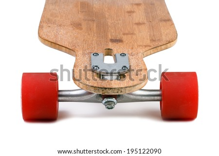 Longboard skateboard isolated on a white background - stock photo