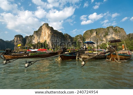 Longboats at Railay Beach, Thailand. - stock photo