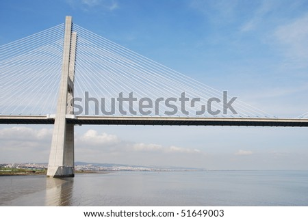 longest bridge in Europe known as Vasco da Gama (over the Tagus river) - stock photo