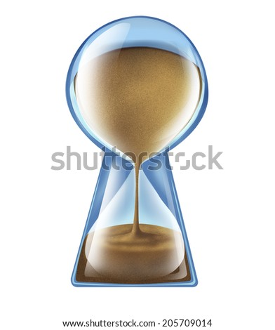 Longevity key health concept as an hourglass shaped as a keyhole as a symbol of living longer and new medical technology to lengthen lifespan or business deadline solutions on an isolated background. - stock photo