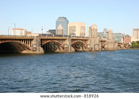 Longfellow bridge with subway - stock photo